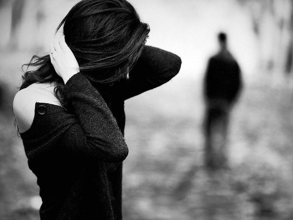 Открытка грустной девушки